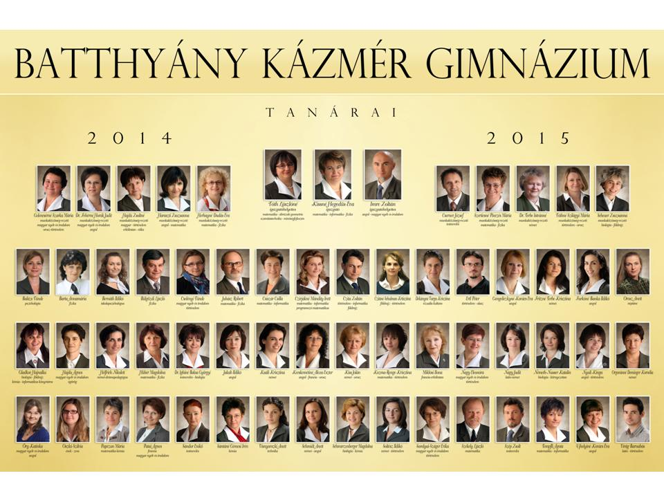 Tanári tabló 2014-2015